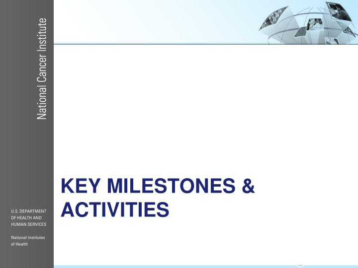 Key Milestones & activities