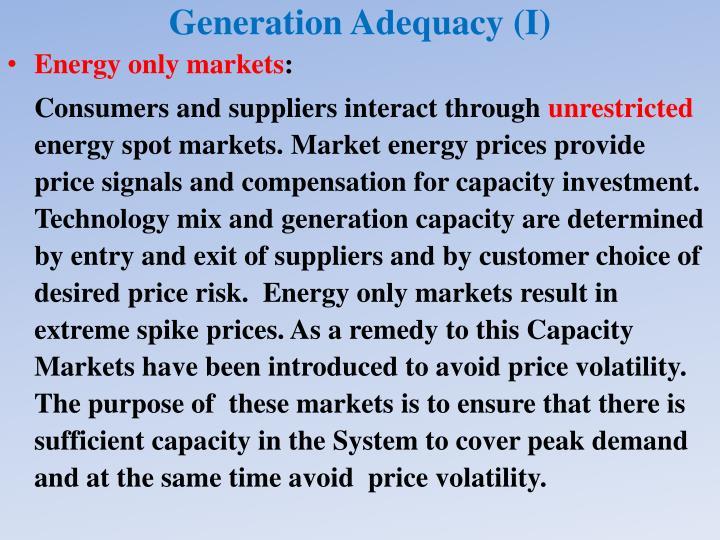 Generation Adequacy