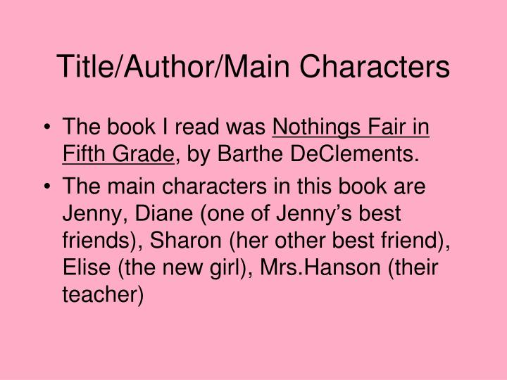 Title author main characters