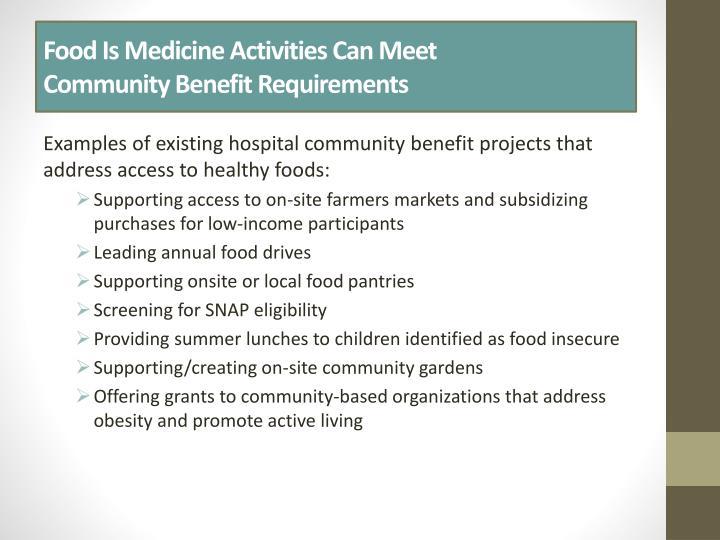 Food Is Medicine Activities Can Meet