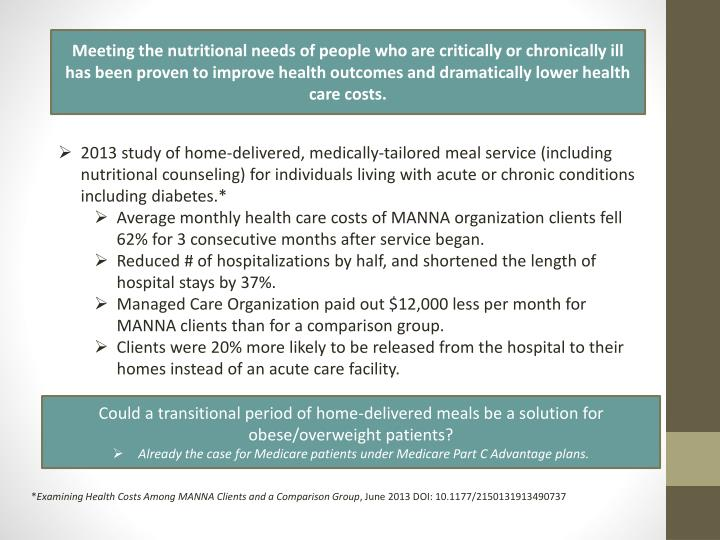Meeting the nutritional needs of people who are critically or chronically ill has been proven to improve health outcomes and dramatically lower health care costs.