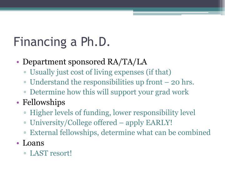 Financing a Ph.D.
