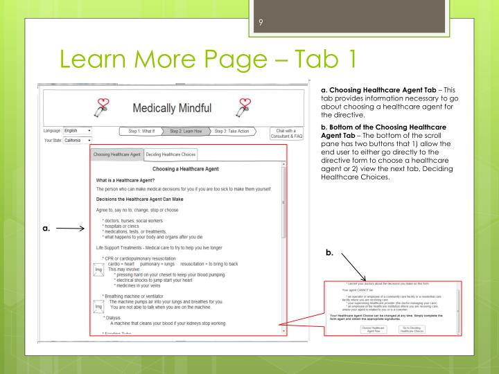 Learn More Page – Tab 1