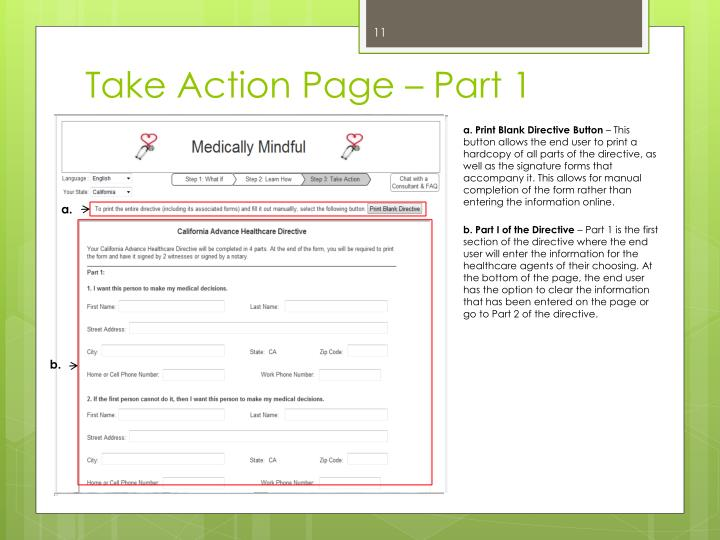 Take Action Page – Part 1