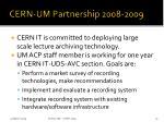 cern um partnership 2008 2009