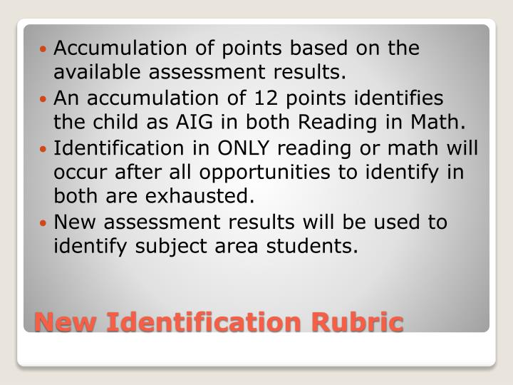 Accumulation of points based on the available assessment results.