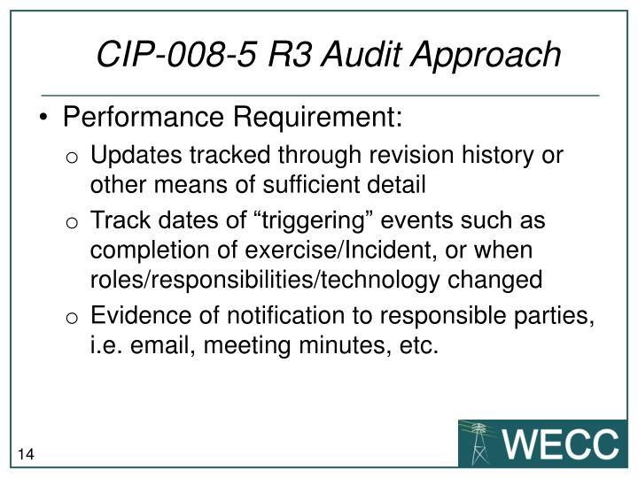 CIP-008-5 R3 Audit Approach