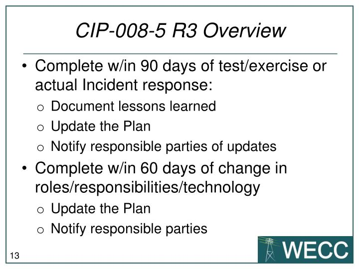 CIP-008-5 R3 Overview