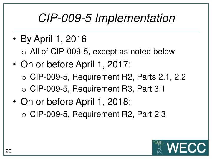 CIP-009-5 Implementation