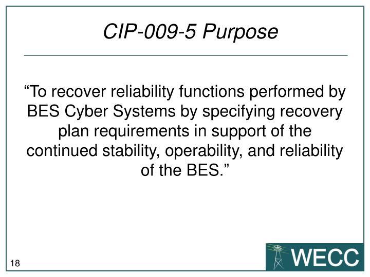CIP-009-5 Purpose