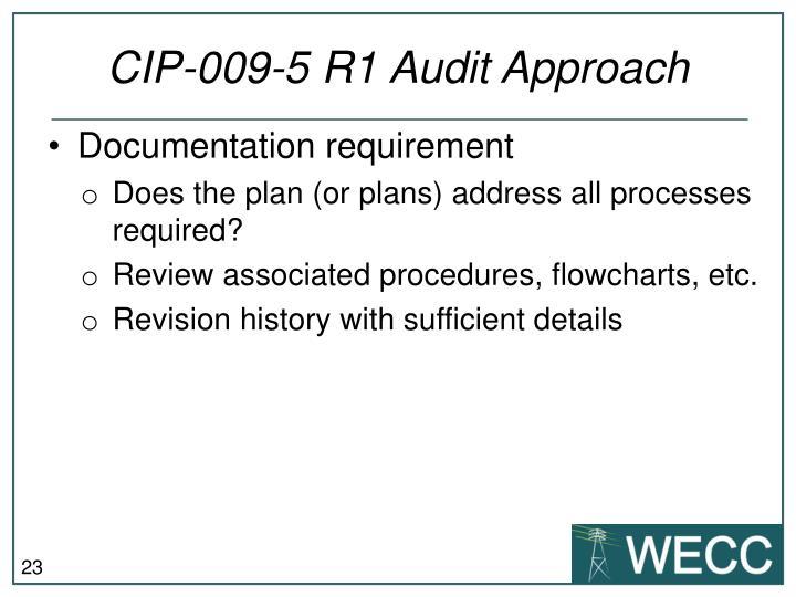 CIP-009-5 R1 Audit Approach