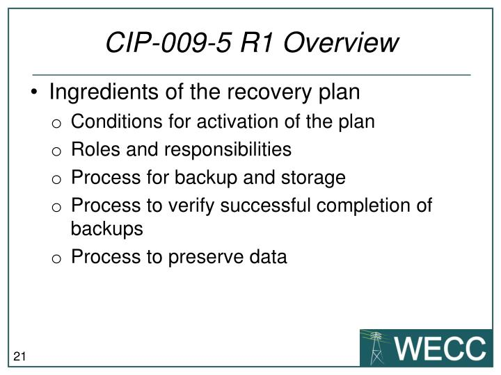 CIP-009-5 R1 Overview