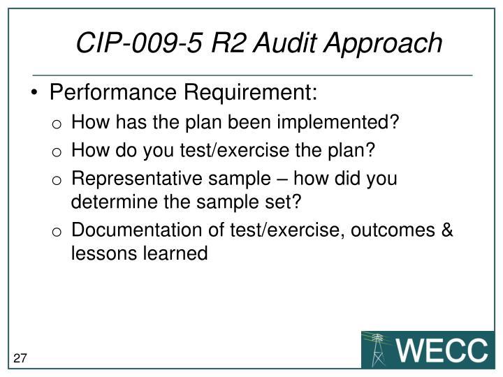 CIP-009-5 R2 Audit Approach