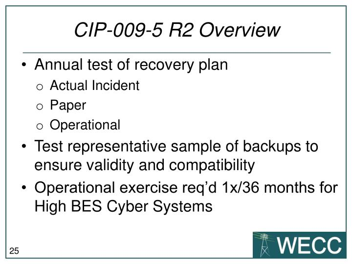 CIP-009-5 R2 Overview