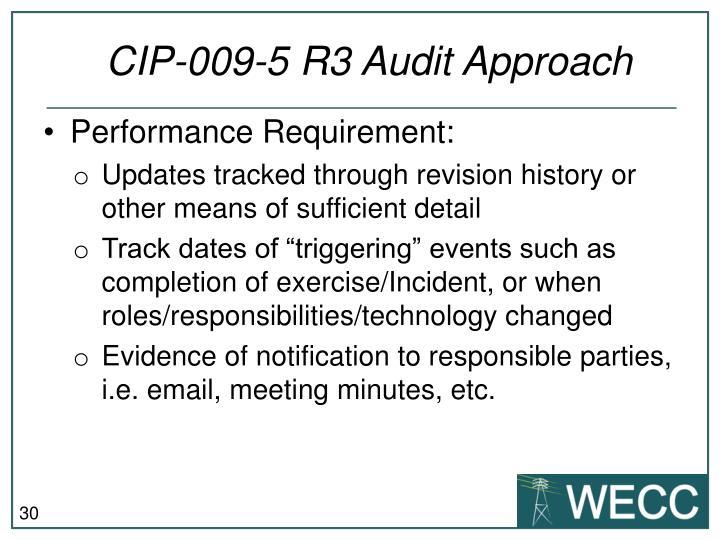 CIP-009-5 R3 Audit Approach