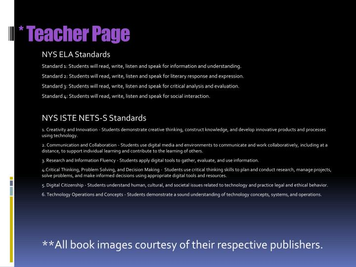 * Teacher Page