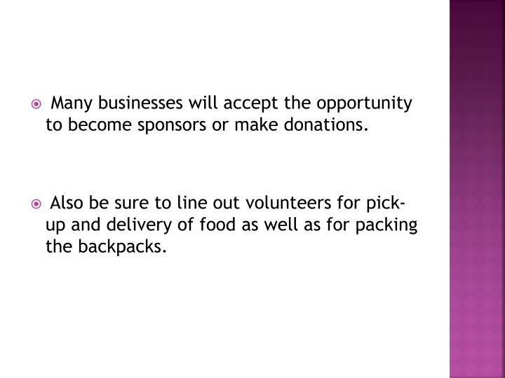 Many businesses will accept the opportunity to become sponsors or make donations.