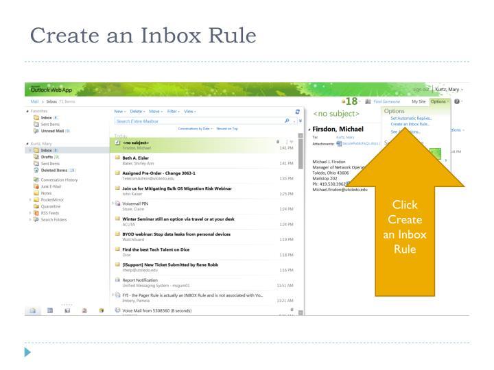 Create an Inbox Rule
