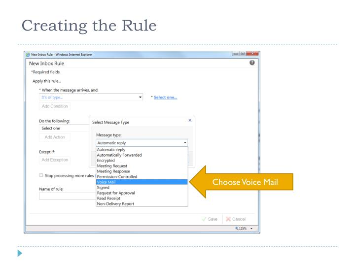Creating the Rule