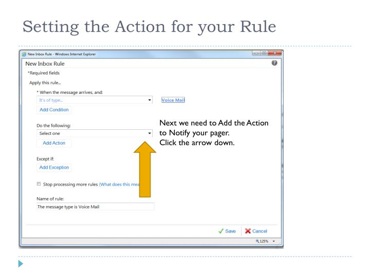 Setting the Action for your Rule