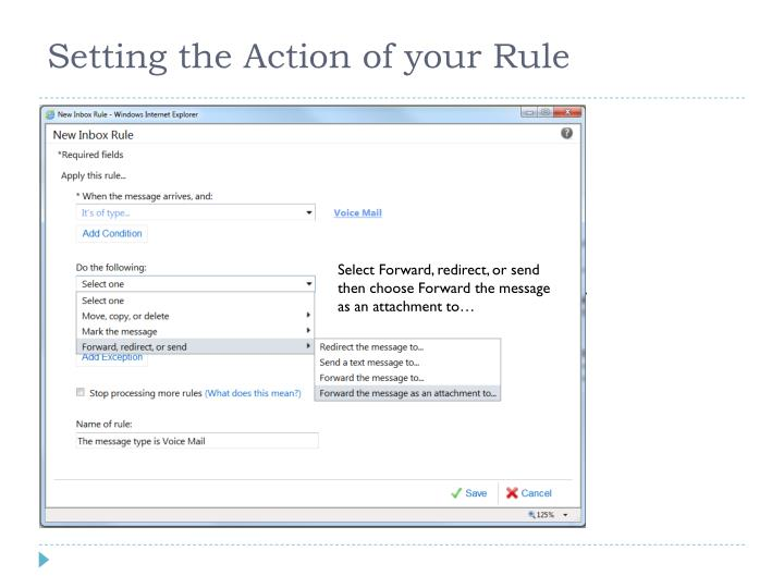 Setting the Action of your Rule