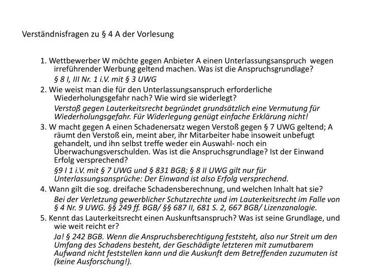 Verständnisfragen zu § 4 A der Vorlesung
