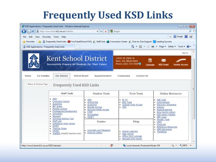 Frequently Used KSD Links