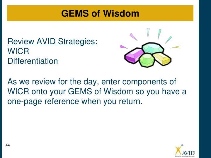 Review AVID Strategies: