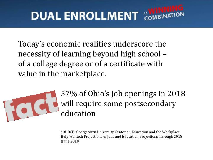 Today's economic realities underscore the necessity of learning beyond high school –
