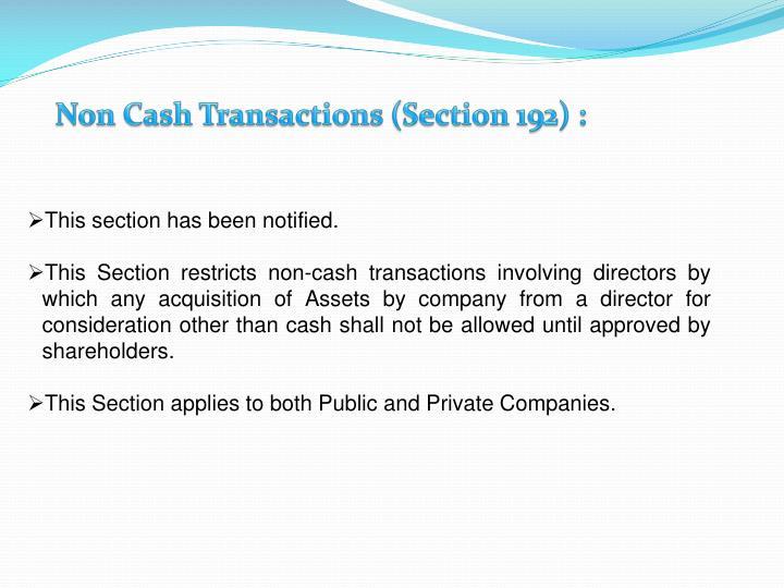 Non Cash Transactions (Section 192) :