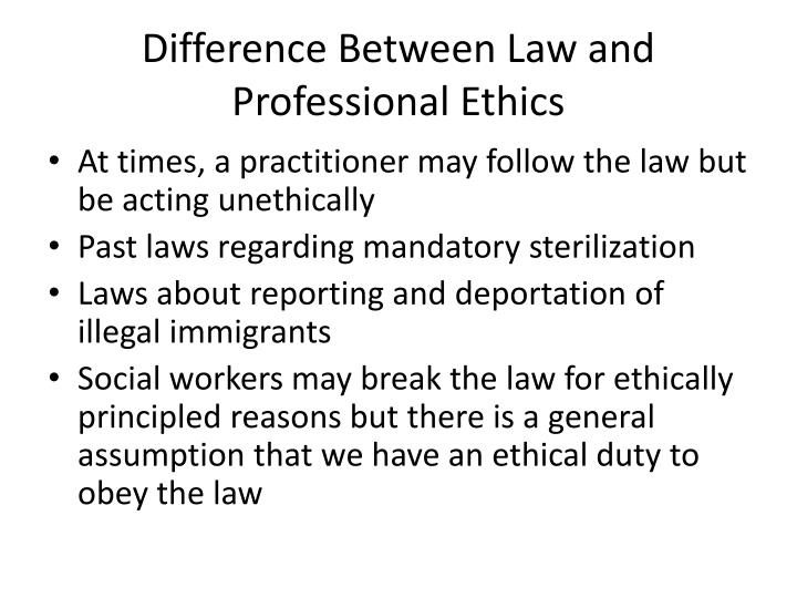 Difference Between Law and Professional Ethics