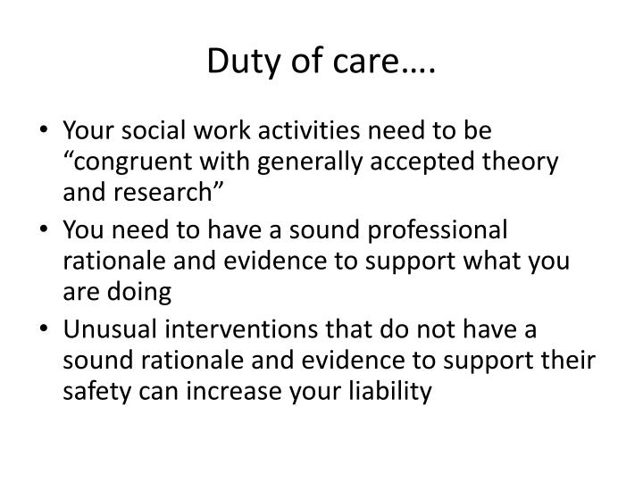 Duty of care….