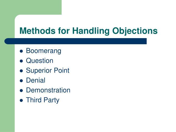 Methods for Handling Objections
