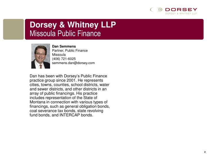 Dorsey whitney llp missoula public finance