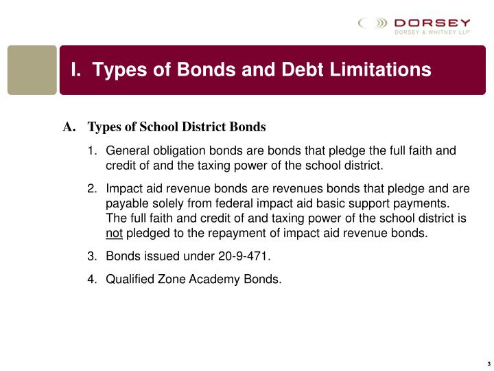 I types of bonds and debt limitations