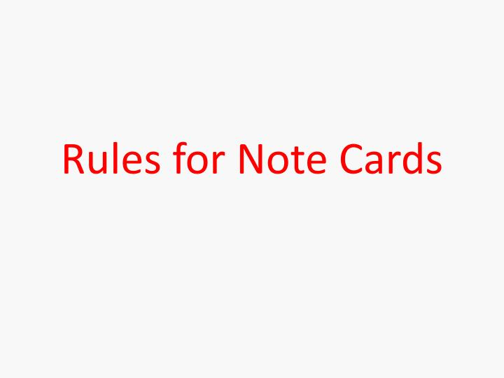 rules for note cards n.
