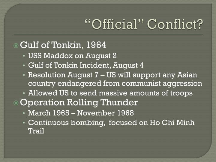 """""""Official"""" Conflict?"""
