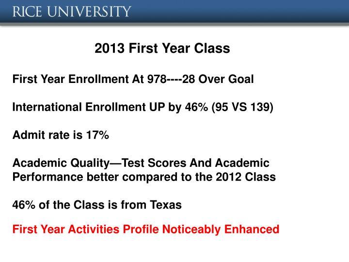 2013 First Year Class
