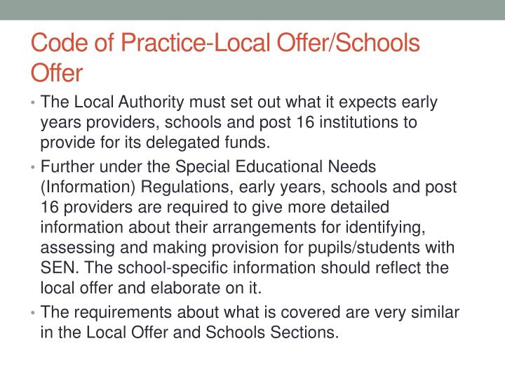 Code of practice local offer schools offer