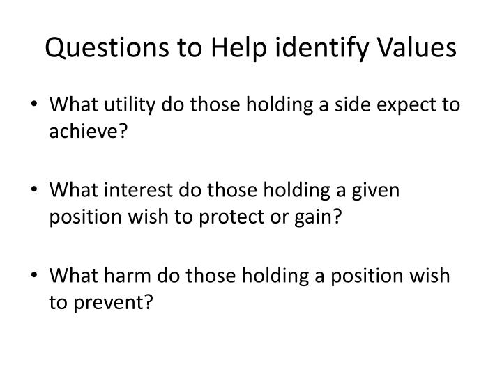 Questions to Help identify Values