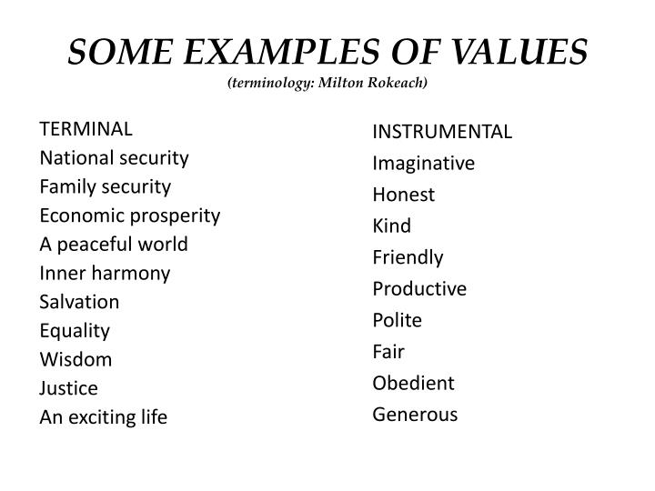 SOME EXAMPLES OF VALUES