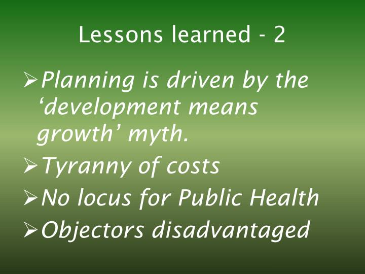 Lessons learned - 2