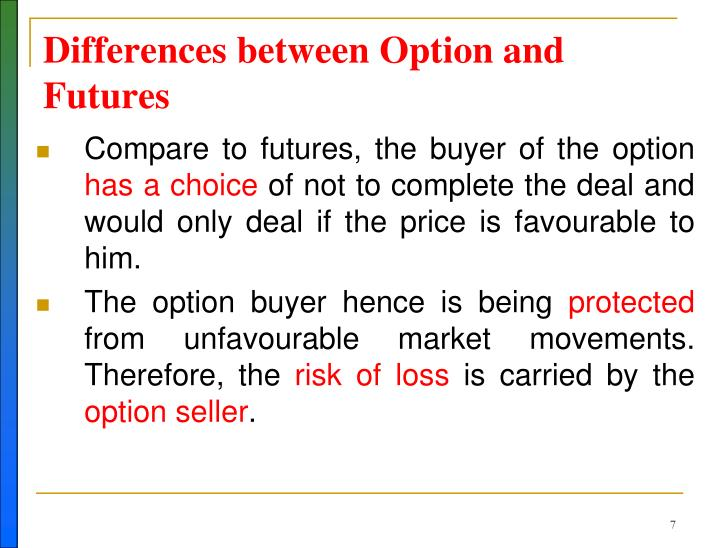 Differences between Option and Futures