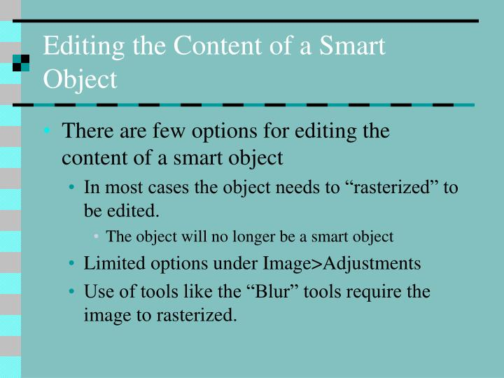 Editing the Content of a Smart Object