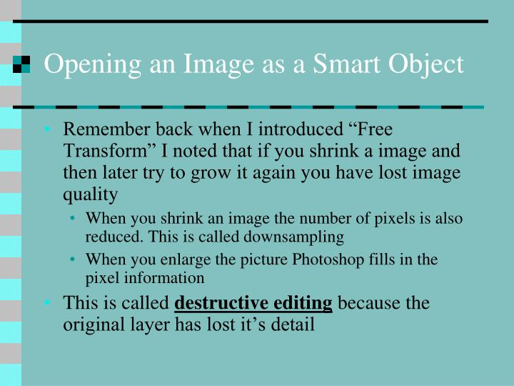Opening an Image as a Smart Object