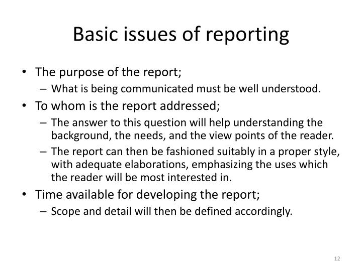 Basic issues of reporting