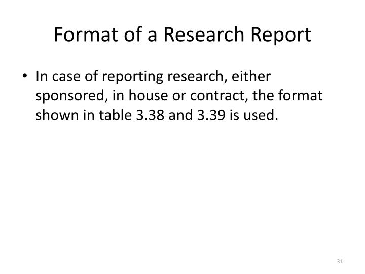 Format of a Research Report