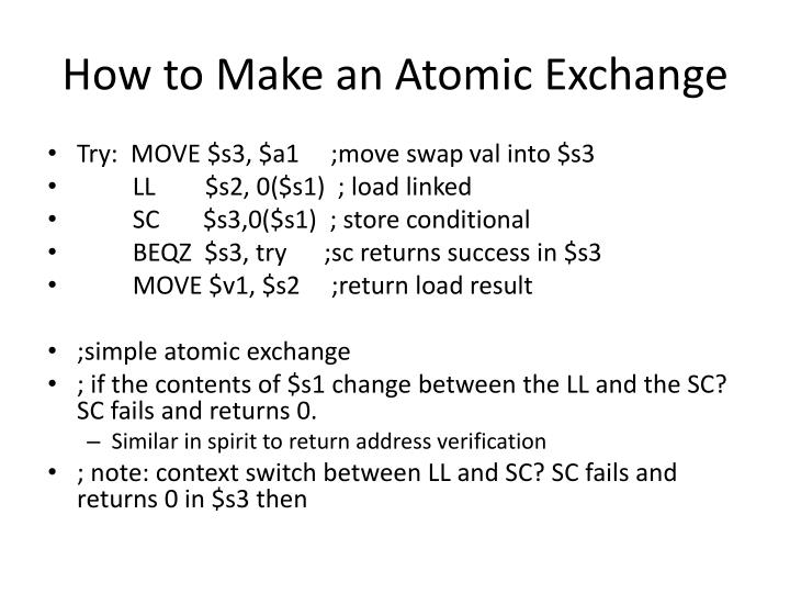 How to make an atomic exchange