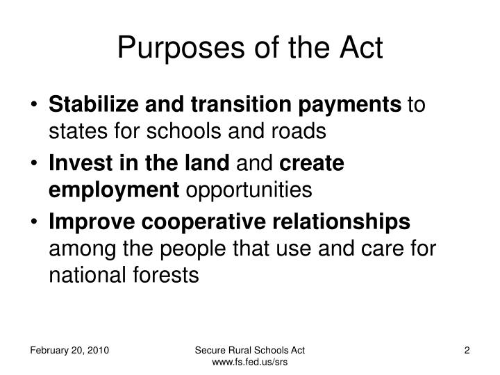 Purposes of the act