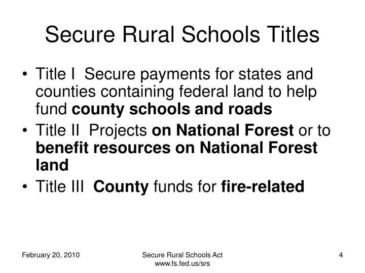 Secure Rural Schools Titles